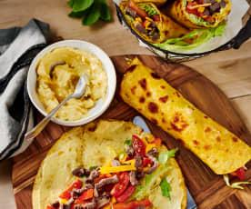 Rinder-Gemüse-Wraps mit Mango-Dip