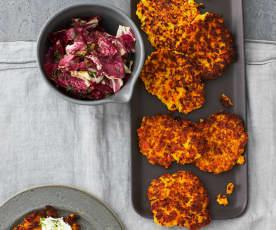 Kartoffel-Kürbis-Rösti mit Radicchio-Salat