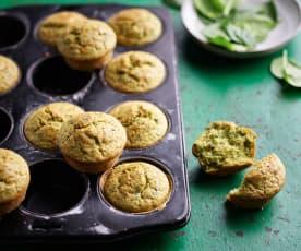 Muffins integrais com queijo e espinafres