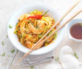 Wok de crevettes et légumes