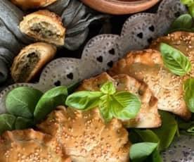 Empanadillas de calabaza, espinacas y cebolla caramelizada
