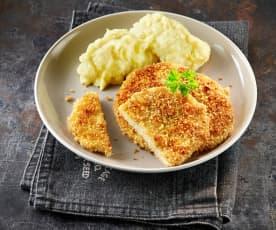 Sellerie-Schnitzel mit Sesam-Panade und Kartoffelpüree