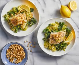 Steamed Cod Over Greens