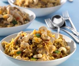 Geschnetzelte Hähnchenbrust mit Gemüse und Curryreis
