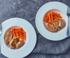 Filetto di maiale alla birra con stick di carote (per 2 persone)
