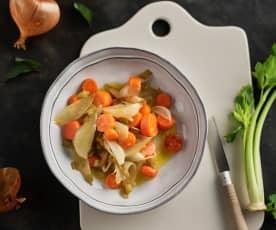 Mezcla de verduras sofritas para sopa o estofado
