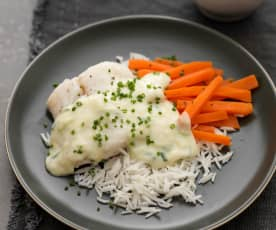 Poached Cod with Leek Sauce, Steamed Carrots and Basmati Rice