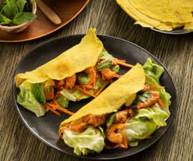 Crêpes de cerdo y langostinos (Bánh xèo) - Vietnam
