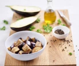 Sautéing 7 oz Eggplant