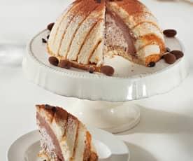 Tarta helada de trufa y avellanas
