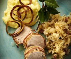 Pork tenderloin with sauerkraut and potato purée