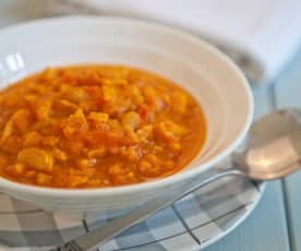 Sweet Potato, Red Pepper and Cannellini Bean Soup
