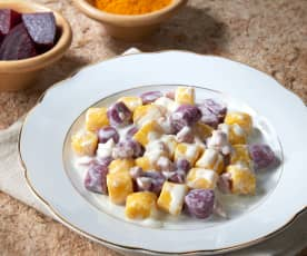 Ñoquis bicolores (sin huevo y sin gluten)