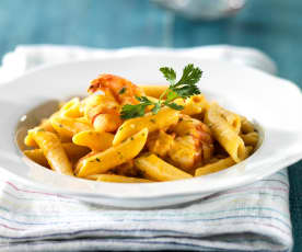 Pasta with Spicy Prawns and Ginger