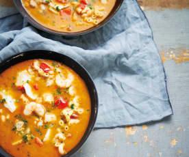 Sopa de bacalhau e marisco