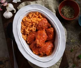 Chicken and roasted red capsicum sauce with rice (TM5)
