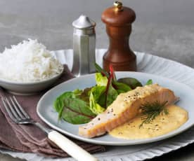 Salmon and Basmati Rice with Dill Cream Sauce