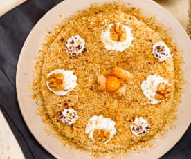 Sněhový ořechový dort