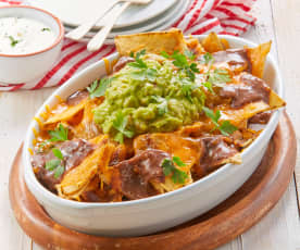 Nachos with Black Beans and Guacamole