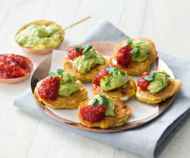 Sweetcorn fritters with chilli jam and avocado cream