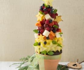 Árbol de Navidad con fruta natural