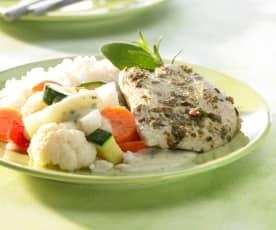 """Putenschnitzel """"Chili-Kräuter"""" mit Gemüse und Reis"""