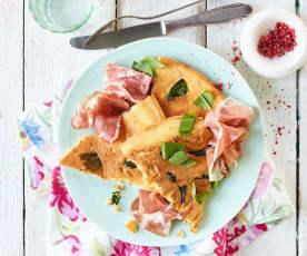 Bärlauch-Frittata mit italienischem Aufschnitt