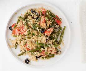 Salada de quinoa e feijão-verde