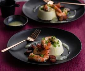 Prawns, wasabi panna cotta and yuzu sauce
