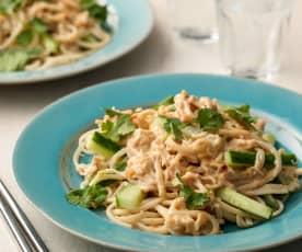 Warm Chicken Peanut Noodle Salad