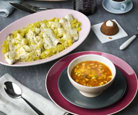 Menú: Patatas con almejas y calamares. Lubina con coliflor y salsa de puerros. Flan de café