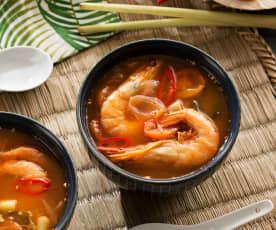 Sopa agridulce de langostinos (Tom Yum Goong) - Tailandia