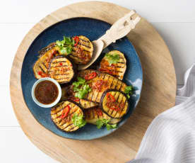Grilled eggplant with lime and ginger dressing