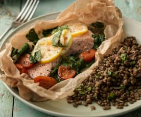 Salmon with Spinach, Tomatoes and Lentils