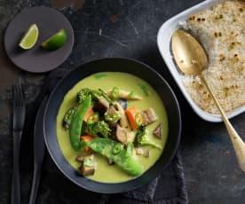 Thaise groene curry en citroengras met rijst
