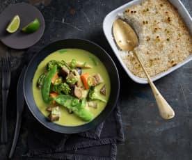 Curry di verdure con riso al lemon grass