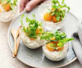 Verrines crabe, melon et mayonnaise aux herbes