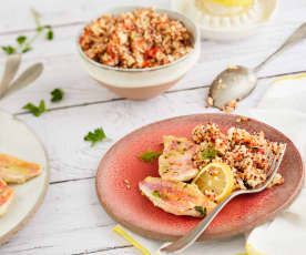 Poisson vapeur, salade de quinoa et tomate