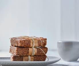 Barrette proteiche cioccolato, arancia e cannella