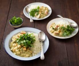 Raw pumpkin and zucchini curry