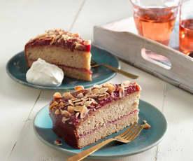 Pohankovo-oříškový koláč s brusinkovým džemem (bez lepku)