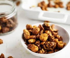 Frutos secos tostados con cúrcuma y miel