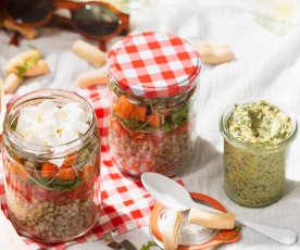 Ensalada de trigo sarraceno con salsa de hierbas