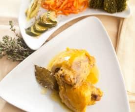 Pollo a las hierbas con verduras al vapor