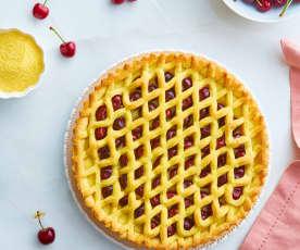 Crostata con crema pasticcera e ciliegie (senza glutine)