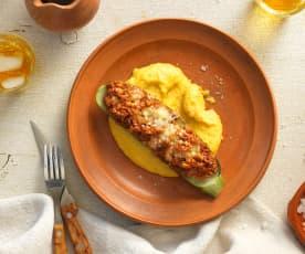 Gefüllte Zucchini mit cremiger Polenta
