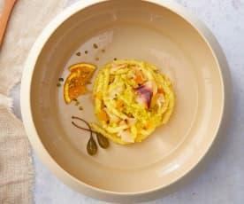Busiate in insalata con pesto all'arancia e pesce spada