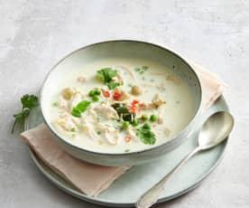 Soupe coco aux légumes printaniers