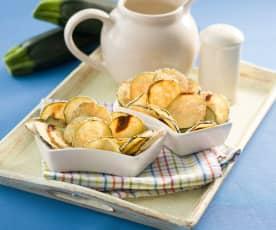 Chips de calabacín al parmesano