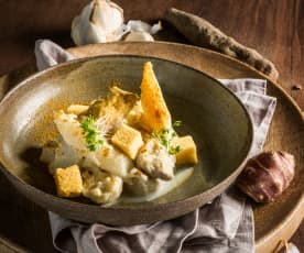 Weißes Schwarzwurzel-Curry mit Hendl und Maisbrot